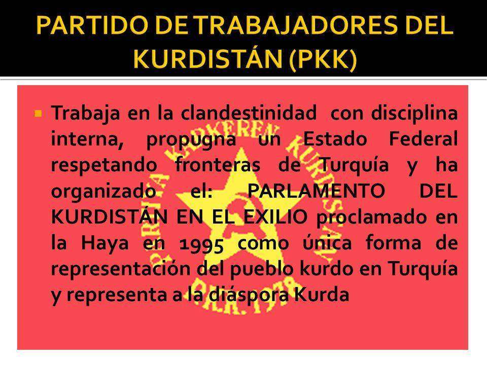 Trabaja en la clandestinidad con disciplina interna, propugna un Estado Federal respetando fronteras de Turquía y ha organizado el: PARLAMENTO DEL KUR