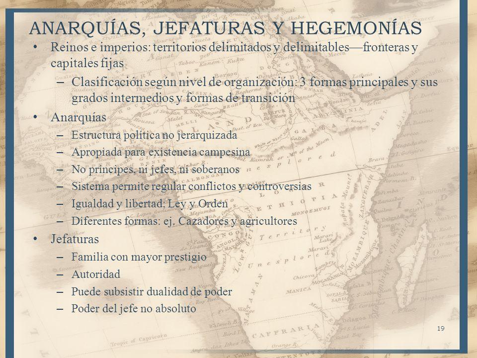 19 ANARQUÍAS, JEFATURAS Y HEGEMONÍAS Reinos e imperios: territorios delimitados y delimitablesfronteras y capitales fijas – Clasificación según nivel