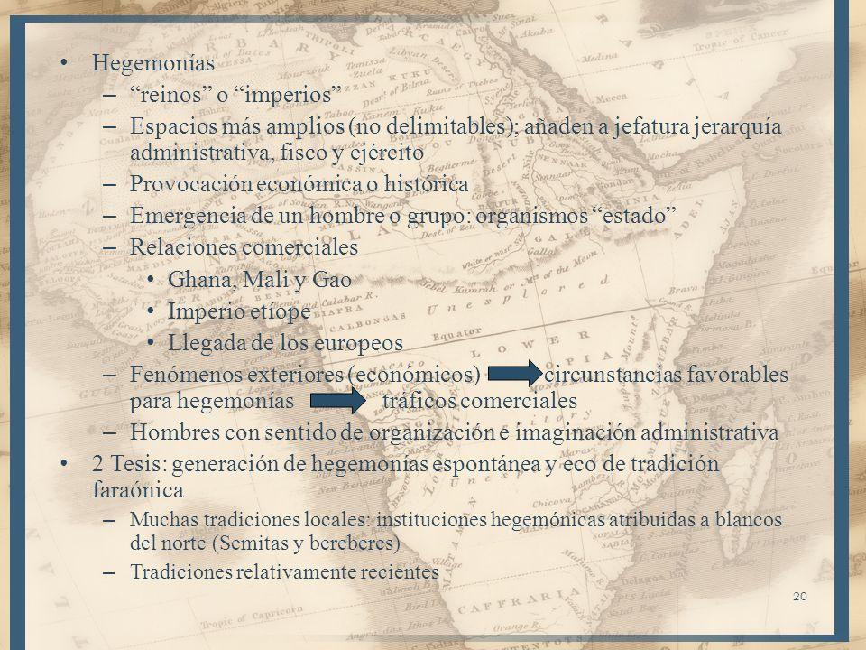 20 Hegemonías – reinos o imperios – Espacios más amplios (no delimitables); añaden a jefatura jerarquía administrativa, fisco y ejército – Provocación