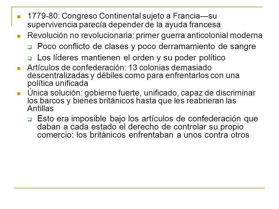 1779-80: Congreso Continental sujeto a Franciasu supervivencia parecía depender de la ayuda francesa Revolución no revolucionaria: primer guerra antic