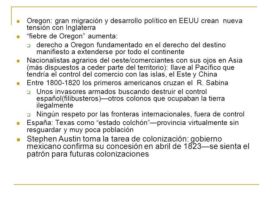 Oregon: gran migración y desarrollo político en EEUU crean nueva tensión con Inglaterra fiebre de Oregon aumenta: derecho a Oregon fundamentado en el