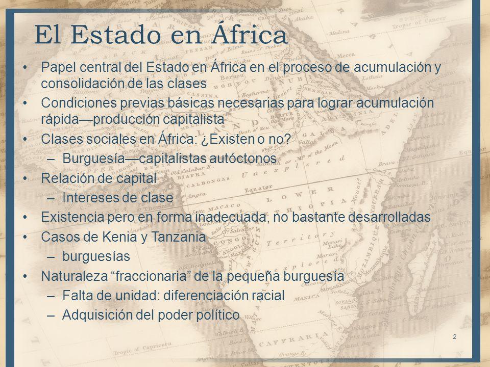 Papel central del Estado en África en el proceso de acumulación y consolidación de las clases Condiciones previas básicas necesarias para lograr acumu