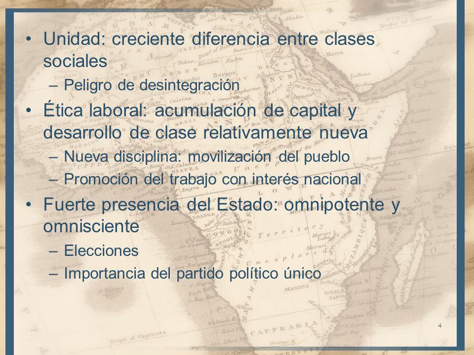 Unidad: creciente diferencia entre clases sociales –Peligro de desintegración Ética laboral: acumulación de capital y desarrollo de clase relativament