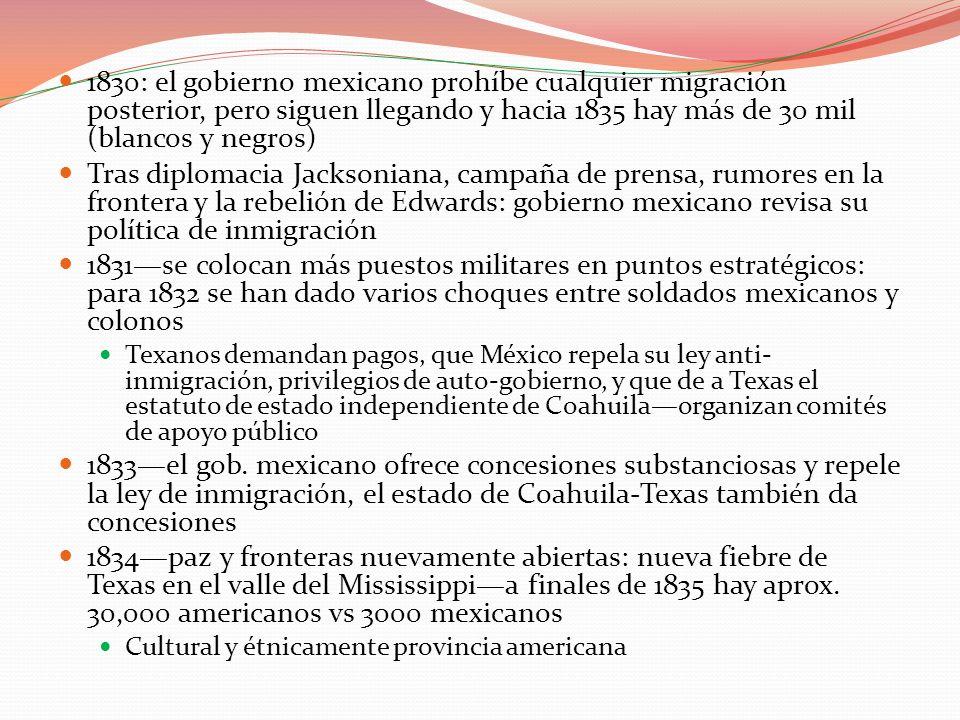 1830: el gobierno mexicano prohíbe cualquier migración posterior, pero siguen llegando y hacia 1835 hay más de 30 mil (blancos y negros) Tras diplomac