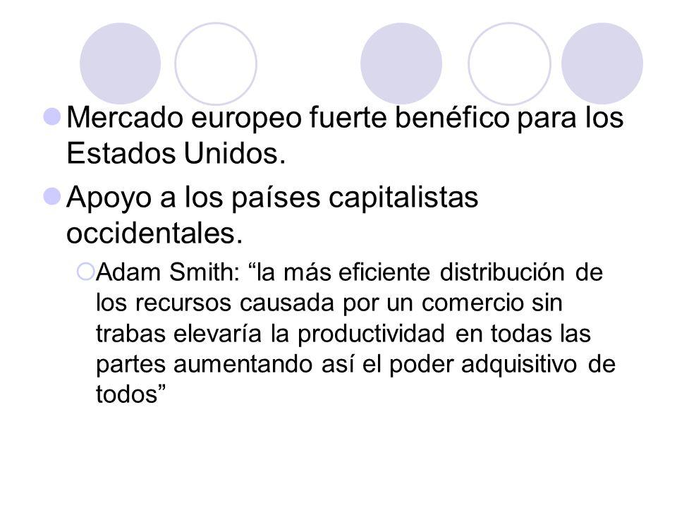Mercado europeo fuerte benéfico para los Estados Unidos. Apoyo a los países capitalistas occidentales. Adam Smith: la más eficiente distribución de lo