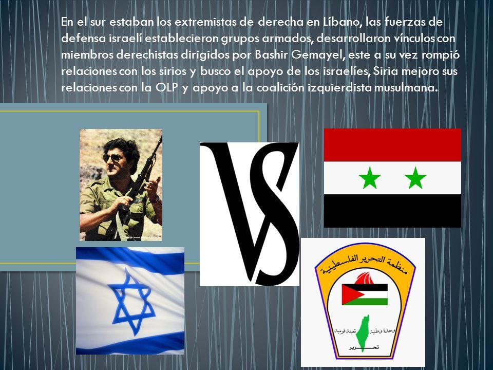 En el sur estaban los extremistas de derecha en Líbano, las fuerzas de defensa israelí establecieron grupos armados, desarrollaron vínculos con miembr