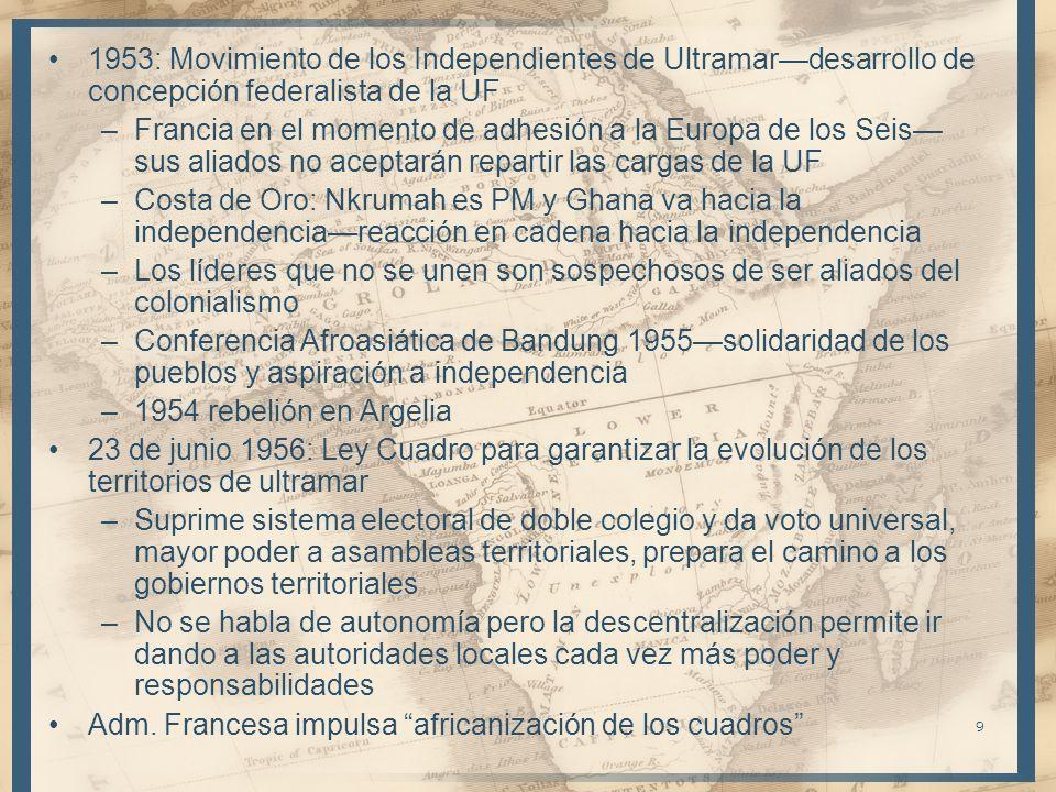 9 1953: Movimiento de los Independientes de Ultramardesarrollo de concepción federalista de la UF –Francia en el momento de adhesión a la Europa de los Seis sus aliados no aceptarán repartir las cargas de la UF –Costa de Oro: Nkrumah es PM y Ghana va hacia la independenciareacción en cadena hacia la independencia –Los líderes que no se unen son sospechosos de ser aliados del colonialismo –Conferencia Afroasiática de Bandung 1955solidaridad de los pueblos y aspiración a independencia –1954 rebelión en Argelia 23 de junio 1956: Ley Cuadro para garantizar la evolución de los territorios de ultramar –Suprime sistema electoral de doble colegio y da voto universal, mayor poder a asambleas territoriales, prepara el camino a los gobiernos territoriales –No se habla de autonomía pero la descentralización permite ir dando a las autoridades locales cada vez más poder y responsabilidades Adm.