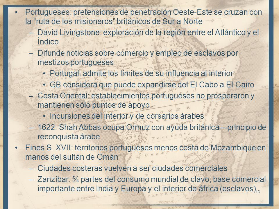 Portugueses: pretensiones de penetración Oeste-Este se cruzan con la ruta de los misioneros británicos de Sur a Norte –David Livingstone: exploración