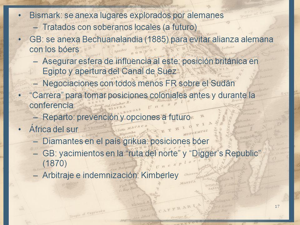Bismark: se anexa lugares explorados por alemanes –Tratados con soberanos locales (a futuro) GB: se anexa Bechuanalandia (1885) para evitar alianza al