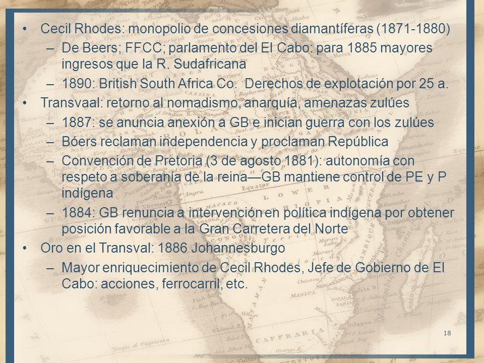 Cecil Rhodes: monopolio de concesiones diamantíferas (1871-1880) –De Beers; FFCC; parlamento del El Cabo: para 1885 mayores ingresos que la R. Sudafri