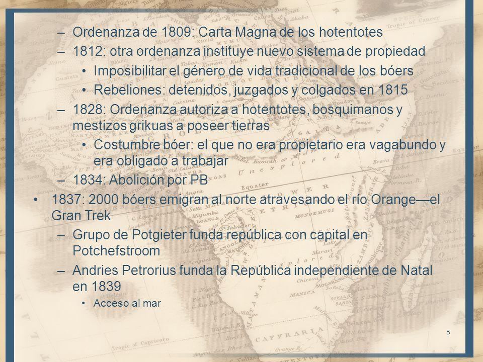 –Ordenanza de 1809: Carta Magna de los hotentotes –1812: otra ordenanza instituye nuevo sistema de propiedad Imposibilitar el género de vida tradicion
