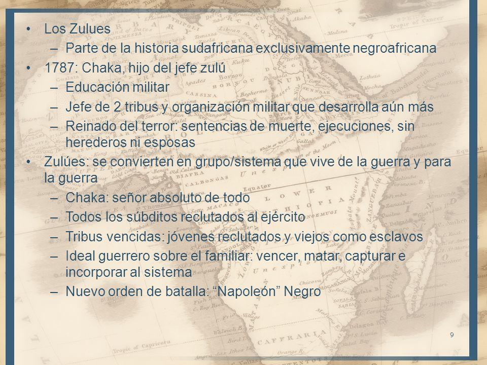Los Zulues –Parte de la historia sudafricana exclusivamente negroafricana 1787: Chaka, hijo del jefe zulú –Educación militar –Jefe de 2 tribus y organ