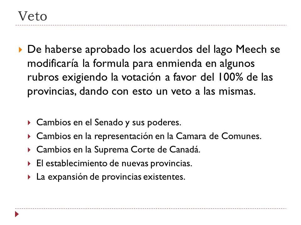 Veto De haberse aprobado los acuerdos del lago Meech se modificaría la formula para enmienda en algunos rubros exigiendo la votación a favor del 100%