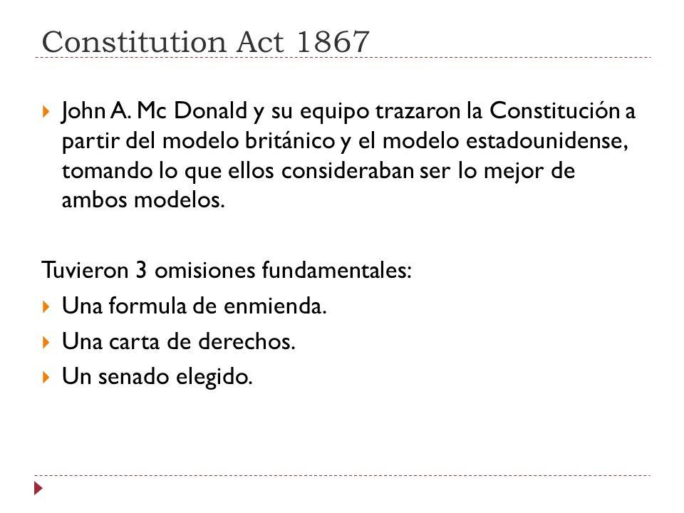 Constitution Act 1867 John A. Mc Donald y su equipo trazaron la Constitución a partir del modelo británico y el modelo estadounidense, tomando lo que