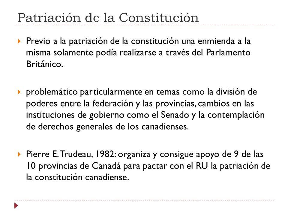 Patriación de la Constitución Previo a la patriación de la constitución una enmienda a la misma solamente podía realizarse a través del Parlamento Bri