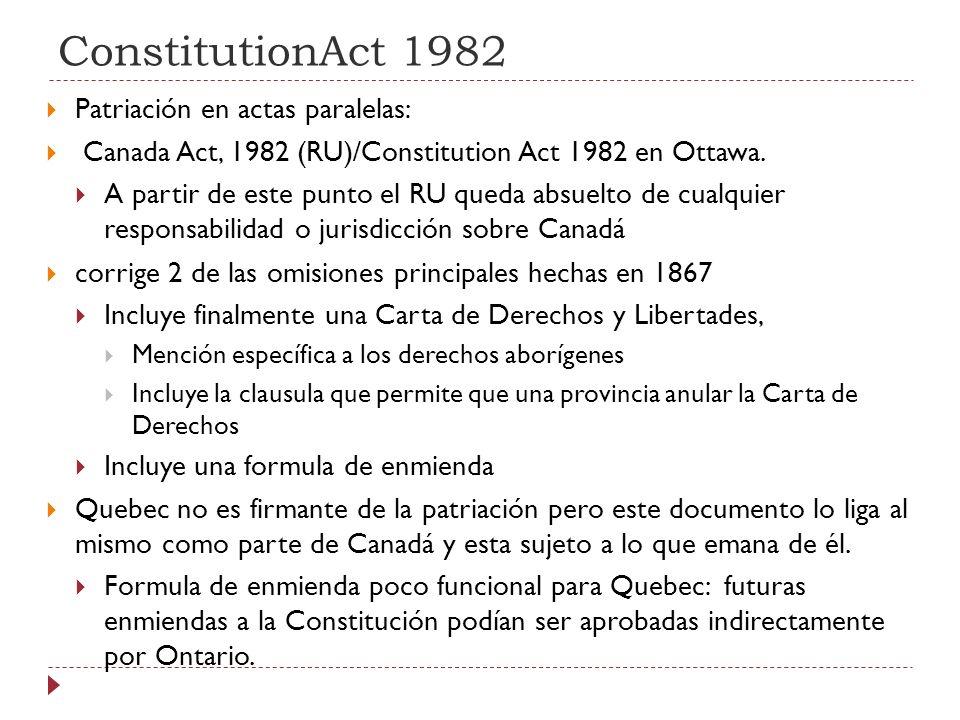 Formula de Enmiendas Fórmula general: Fórmula 7/50 Se requiere asentimiento de: 1) la cámara baja y el senado; 2) aprobación de 2/3 de las legislaturas provinciales (por lo menos 7 provincias), representando al menos 50% de la población (por lo menos Quebec u Ontario deben estar incluidas al ser las provincias más pobladas).