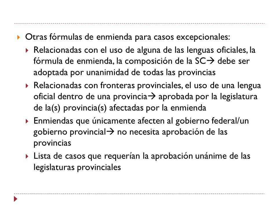 Otras fórmulas de enmienda para casos excepcionales: Relacionadas con el uso de alguna de las lenguas oficiales, la fórmula de enmienda, la composició