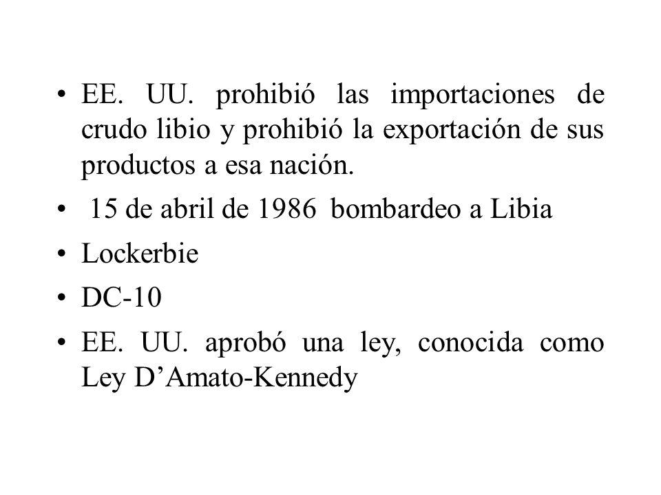 EE. UU. prohibió las importaciones de crudo libio y prohibió la exportación de sus productos a esa nación. 15 de abril de 1986 bombardeo a Libia Locke