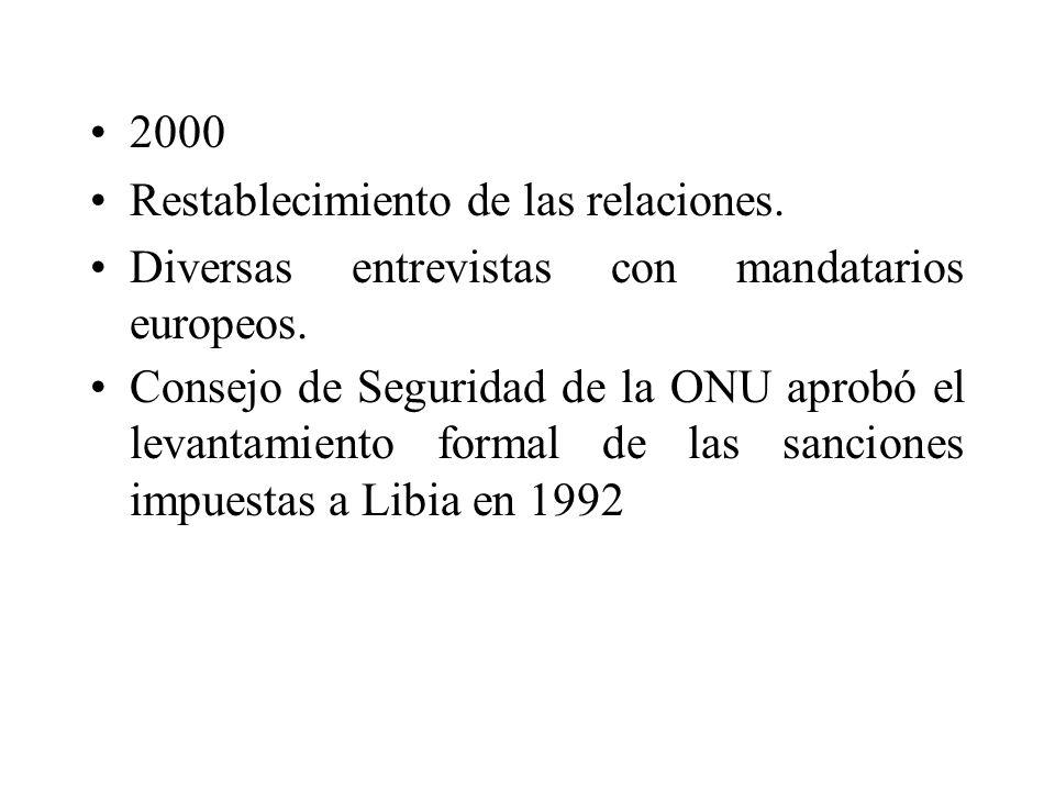 2000 Restablecimiento de las relaciones. Diversas entrevistas con mandatarios europeos. Consejo de Seguridad de la ONU aprobó el levantamiento formal