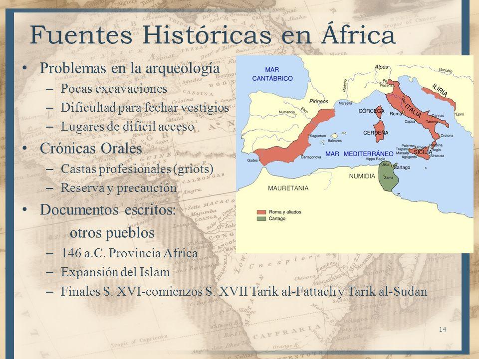 14 Fuentes Históricas en África Problemas en la arqueología – Pocas excavaciones – Dificultad para fechar vestigios – Lugares de difícil acceso Crónic