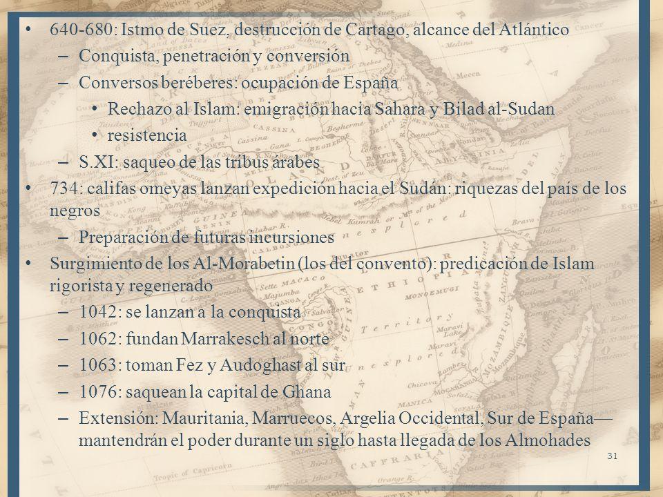 31 640-680: Istmo de Suez, destrucción de Cartago, alcance del Atlántico – Conquista, penetración y conversión – Conversos beréberes: ocupación de Esp