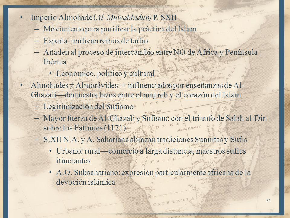 Imperio Almohade (Al-Muwahhidun) P. SXII – Movimiento para purificar la práctica del Islam – España: unifican reinos de taifas – Añaden al proceso de