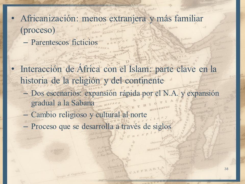 Africanización: menos extranjera y más familiar (proceso) – Parentescos ficticios Interacción de África con el Islam: parte clave en la historia de la