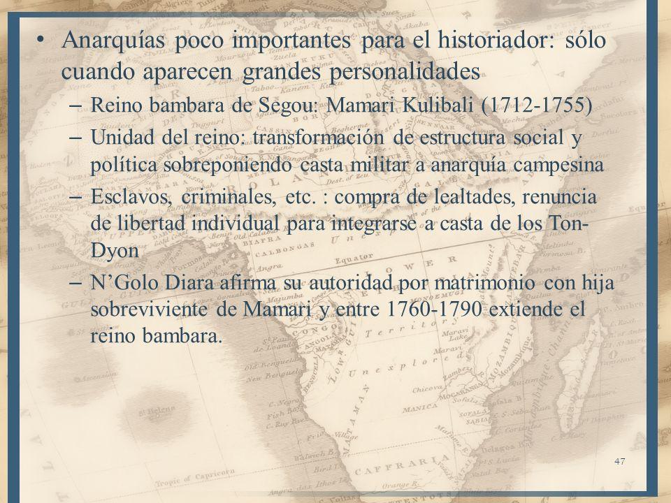 Anarquías poco importantes para el historiador: sólo cuando aparecen grandes personalidades – Reino bambara de Segou: Mamari Kulibali (1712-1755) – Un