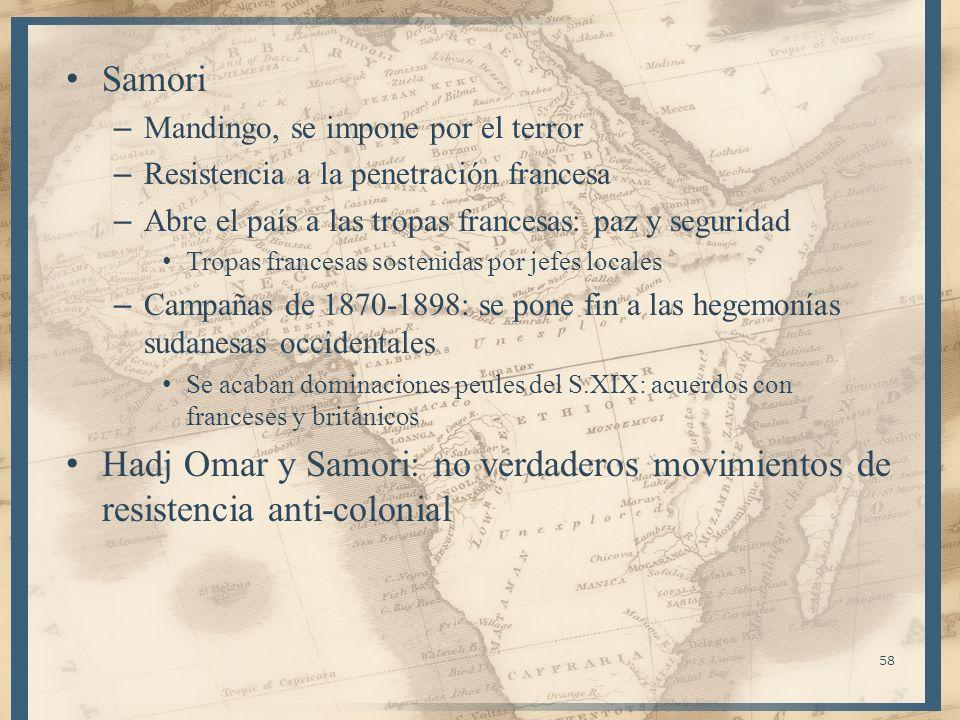 Samori – Mandingo, se impone por el terror – Resistencia a la penetración francesa – Abre el país a las tropas francesas: paz y seguridad Tropas franc