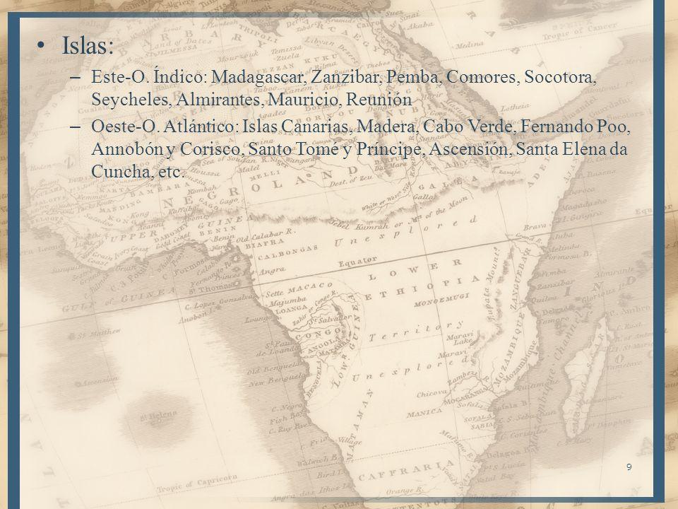 9 Islas: – Este-O. Índico: Madagascar, Zanzibar, Pemba, Comores, Socotora, Seycheles, Almirantes, Mauricio, Reunión – Oeste-O. Atlántico: Islas Canari