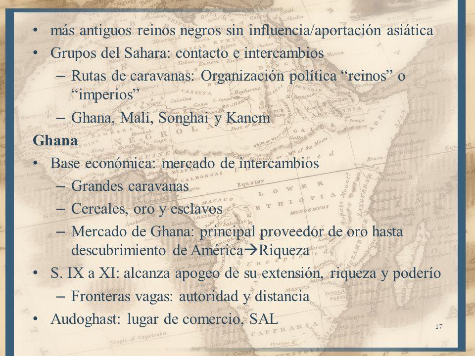 17 más antiguos reinos negros sin influencia/aportación asiática Grupos del Sahara: contacto e intercambios – Rutas de caravanas: Organización polític