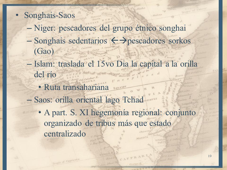 19 Songhais-Saos – Niger: pescadores del grupo étnico songhai – Songhais sedentarios pescadores sorkos (Gao) – Islam: traslada el 15vo Dia la capital