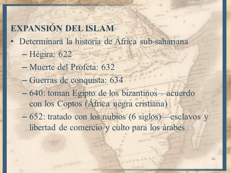 EXPANSIÓN DEL ISLAM Determinará la historia de África sub-sahariana – Hégira: 622 – Muerte del Profeta: 632 – Guerras de conquista: 634 – 640: toman E