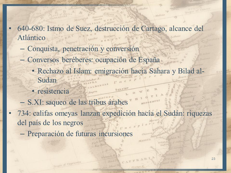 23 640-680: Istmo de Suez, destrucción de Cartago, alcance del Atlántico – Conquista, penetración y conversión – Conversos beréberes: ocupación de Esp