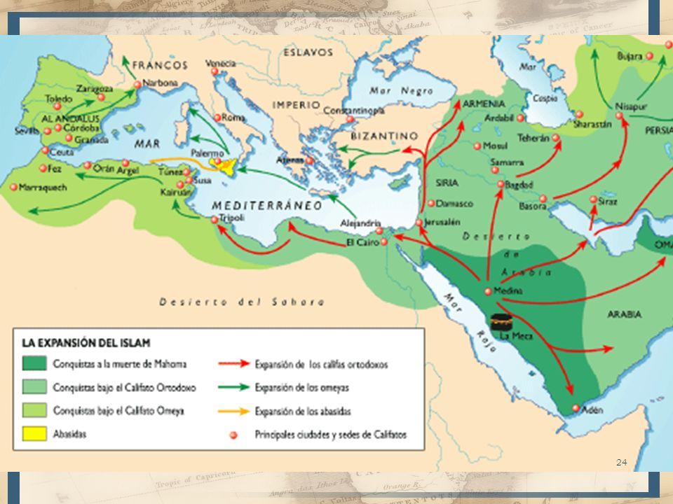 Surgimiento de los Al-Morabetin (los del convento): predicación de Islam rigorista y regenerado – 1042: se lanzan a la conquista – 1062: fundan Marrakesch al norte – 1063: toman Fez y Audoghast al sur – 1076: saquean la capital de Ghana – Extensión: Mauritania, Marruecos, Argelia Occidental, Sur de Españamantendrán el poder durante un siglo hasta llegada de los Almohades 25
