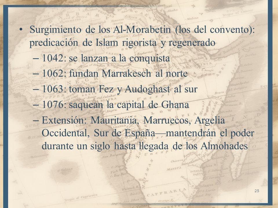 Surgimiento de los Al-Morabetin (los del convento): predicación de Islam rigorista y regenerado – 1042: se lanzan a la conquista – 1062: fundan Marrak
