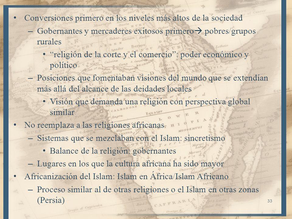 Africanización: menos extranjera y más familiar (proceso) Interacción de África con el Islam: parte clave en la historia de la religión y del continente – Dos escenarios: expansión rápida por el N.A.