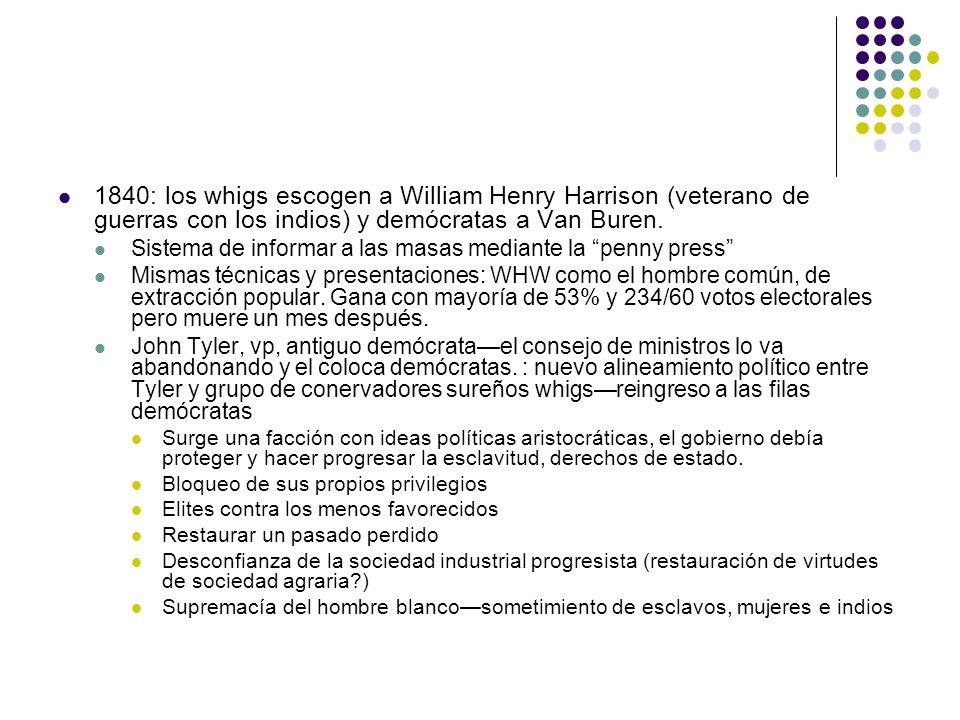 1840: los whigs escogen a William Henry Harrison (veterano de guerras con los indios) y demócratas a Van Buren. Sistema de informar a las masas median