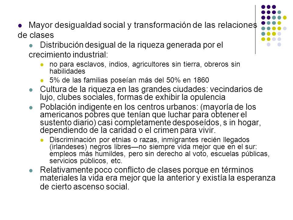 Mayor desigualdad social y transformación de las relaciones de clases Distribución desigual de la riqueza generada por el crecimiento industrial: no p