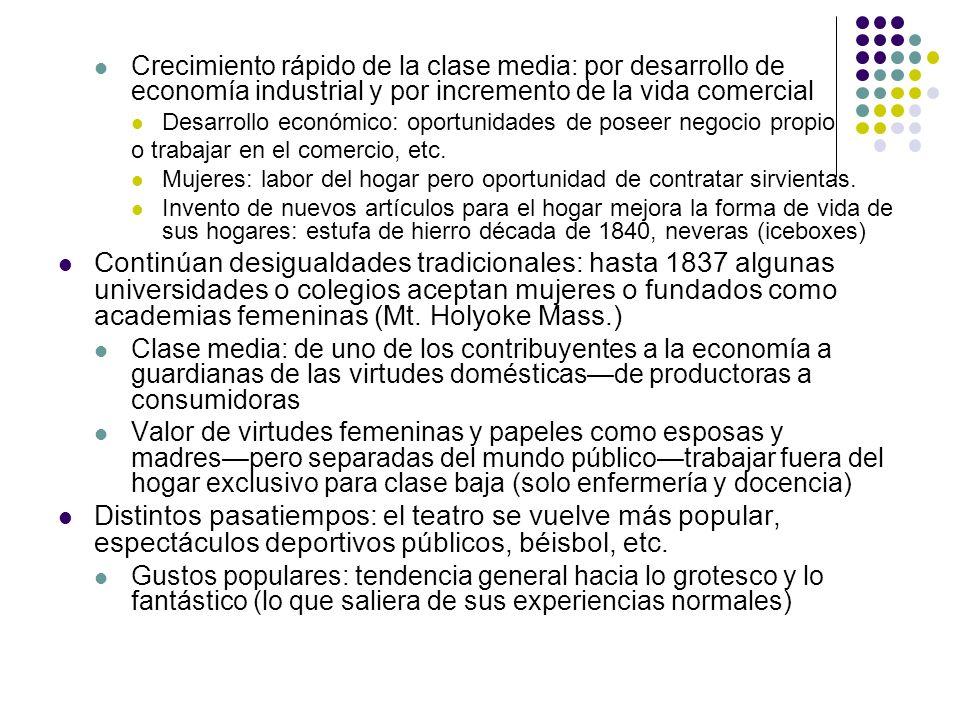 Crecimiento rápido de la clase media: por desarrollo de economía industrial y por incremento de la vida comercial Desarrollo económico: oportunidades
