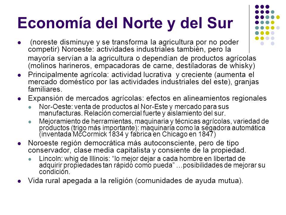 Economía del Norte y del Sur (noreste disminuye y se transforma la agricultura por no poder competir) Noroeste: actividades industriales también, pero