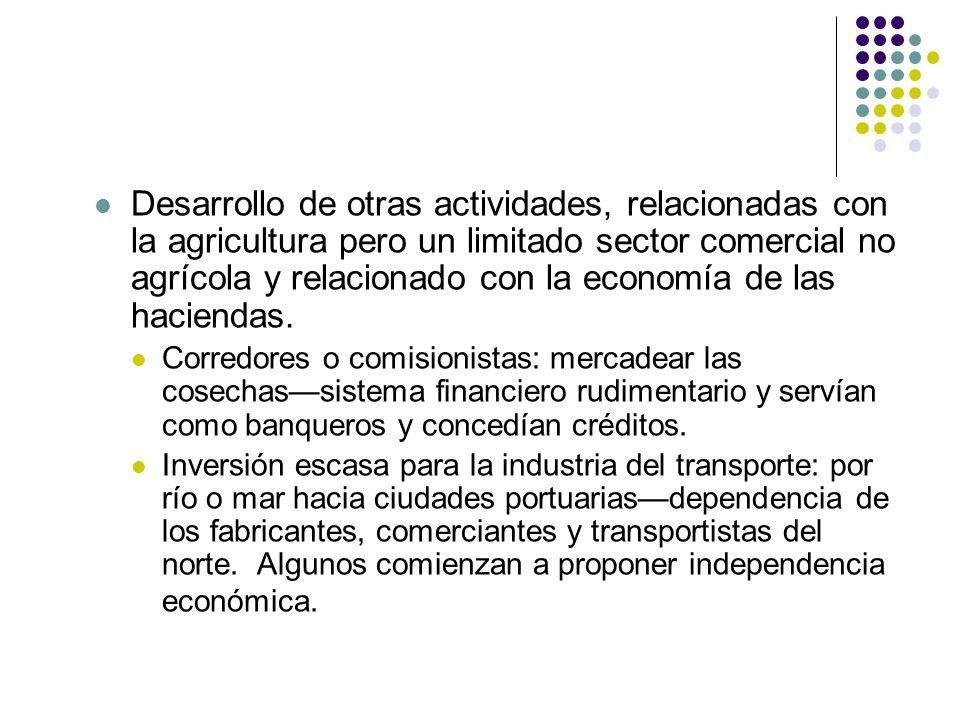 Desarrollo de otras actividades, relacionadas con la agricultura pero un limitado sector comercial no agrícola y relacionado con la economía de las ha