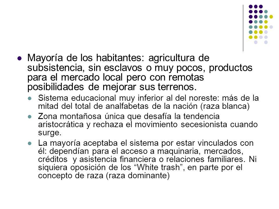 Mayoría de los habitantes: agricultura de subsistencia, sin esclavos o muy pocos, productos para el mercado local pero con remotas posibilidades de me