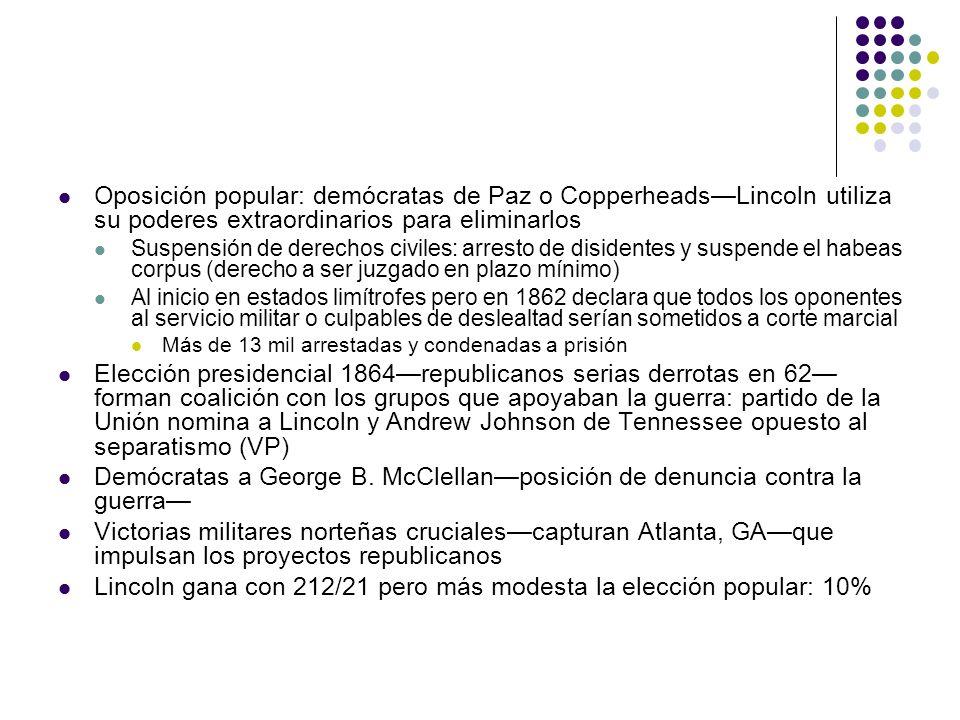 Oposición popular: demócratas de Paz o CopperheadsLincoln utiliza su poderes extraordinarios para eliminarlos Suspensión de derechos civiles: arresto