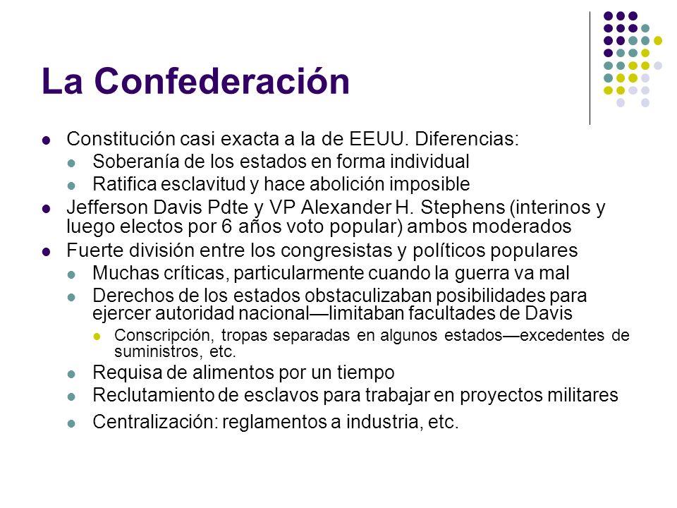 La Confederación Constitución casi exacta a la de EEUU. Diferencias: Soberanía de los estados en forma individual Ratifica esclavitud y hace abolición