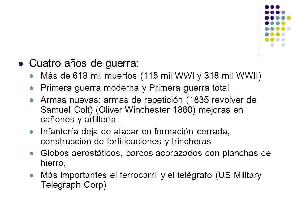 Cuatro años de guerra: Más de 618 mil muertos (115 mil WWI y 318 mil WWII) Primera guerra moderna y Primera guerra total Armas nuevas: armas de repeti