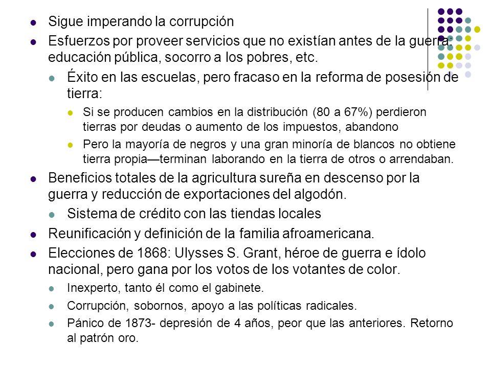 Sigue imperando la corrupción Esfuerzos por proveer servicios que no existían antes de la guerra: educación pública, socorro a los pobres, etc. Éxito