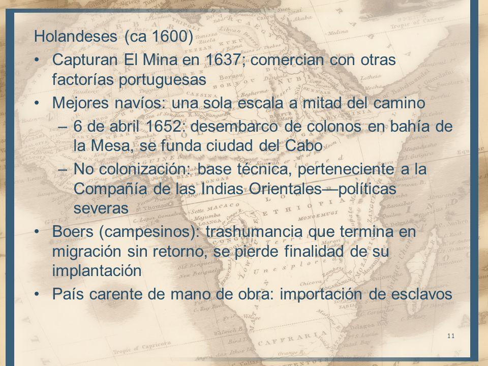 Holandeses (ca 1600) Capturan El Mina en 1637; comercian con otras factorías portuguesas Mejores navíos: una sola escala a mitad del camino –6 de abri