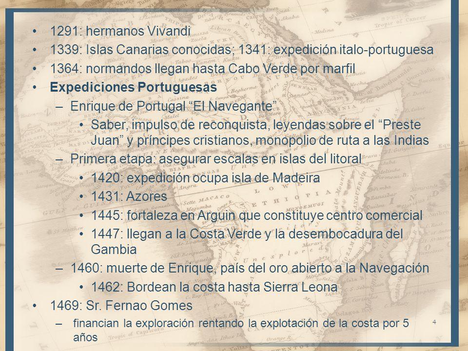 1291: hermanos Vivandi 1339: Islas Canarias conocidas; 1341: expedición italo-portuguesa 1364: normandos llegan hasta Cabo Verde por marfil Expedicion