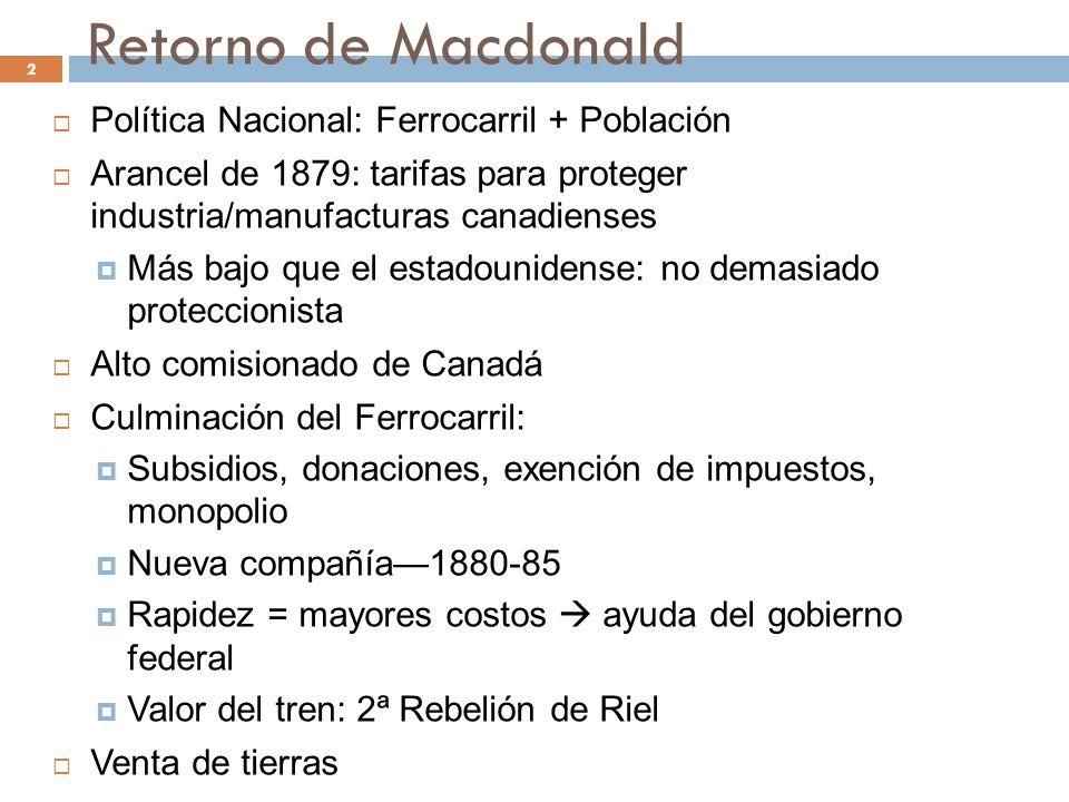 Retorno de Macdonald Política Nacional: Ferrocarril + Población Arancel de 1879: tarifas para proteger industria/manufacturas canadienses Más bajo que